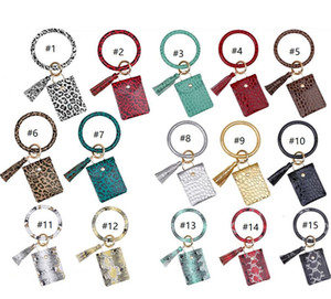 Wristlets Bangle Card Bag Coin Purses Trendy Wallet Keychain Holder Women Leopard PU E22909 Bracelets Animal Print Tassels Leather Qtofm