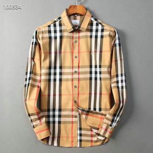2019 nos marca negócio fina camisa xadrez, designer de moda marca tamanho de manga comprida de algodão casuais camisa tarja camisa cooperativa m-4xl # 34