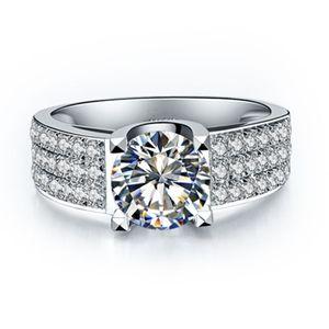 1 ct synthetische Diamantringe für Frauen 18 Karat vergoldeter Ring für Damen Verlobungsringe aus Sterlingsilber 925 für Damen