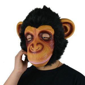 Natural Latex Animal Headgear Face Mask Orangutan Sika Deer High Simulation Odor-Free Face Mask Halloween Masquerade Dress Up Face Mask