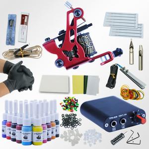 문신 키트 20 색 문신 잉크는 기계 설정 블랙 전원 공급 바늘 영구가 전문 키트 세트를 확인 설정