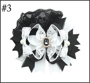 free shipping 6pcs 6'' over the top girl hair bows big lace OTT hair clips with rhinestones center rose hair accessories
