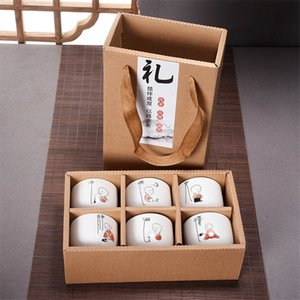 6pcs Hand bemalte Keramik-Schale gesetzt China Kung Fu Tea Cup Set Reise Teeschale Chinesisches Porzellan Teacup Set kreative Geschenke Preference