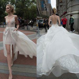 Chic Beaded Inbal Dror Wedding Dresses Appliqued V Neckline A Line Backless Bridal Gowns Floor Length Tulle Overskirts Wedding Dress 3877