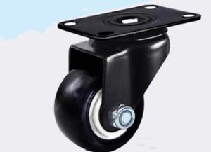 2 بوصة عجلات كتم ملابس مقاومة العالمي عجلة المطاط الأسود الخروع المذرة عجلات شقة أنشطة دولاب صغير التدحرج 50MM