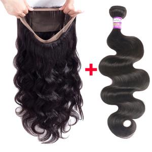 Pérou vague de corps humain Cheveux 3 Bundles Avec 360 Lace Frontal Fermeture de vague de corps 360 Dentelle Frontal Fermeture avec le Brésilien Extension de cheveux humains