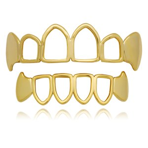 2020 Gold Teeth Grillz Top Bottom Grills Dental Hollow Open Face Grill Vampire Fang Tooth Caps Body Jewelry Party free dhl ups