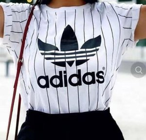 Nouvelles femmes d'été de la mode sport Chemises à manches courtes o-cou t-shirt rayé lâche tees tête