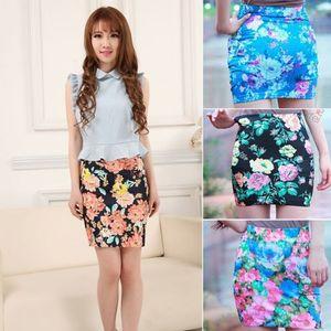 Mulheres cintura alta A-Line Saias Floral Imprimir curto Mini Bodycon Pencil Skirt Verão