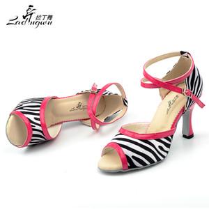 Ladingwu 2018 New Zebra texture satin rose colocalisation PU chaussures de danse latine femmes satin Ballroom souples sandales de danse bas