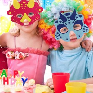5шт Войлок Динозавр Halloween маска Themed Birthday Party Supplies девушки Dinosaur Party Baby Shower подарок для детей