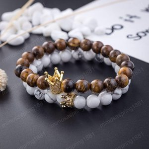 New Lovers White Turquoise Bracelet Crown Natural Stone Energy Beads Bracelets Metal Rhinestone Strands Jewelry Accessories Wholesale