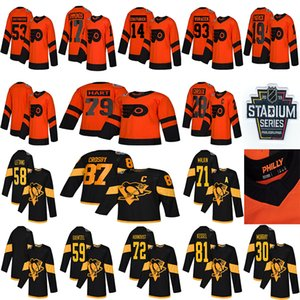 2019 Stadio Serie Pittsburgh Penguins Philadelphia Flyers Jersey 87 Sidney Crosby 71 Malkin 58 Letang 28 Giroux 79 maglie hockey Hart