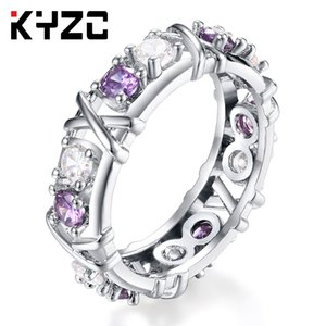 American and European Zircon Double-color Ring Ladies Cross-color Separation Explosive Selling Zircon Engagement Jewelry