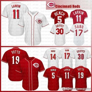 Mens Cincinnati Baseball Jersey Reds 5 Johnny Bench 11 Barry Larkin 19 Joey Votto 30 Ken Griffey Jr 17 Chris Sabo 14 Pete Rose 66 Trikots
