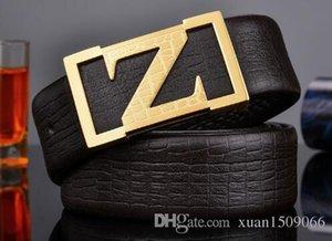 Cinturón de cuero de alta calidad con hebilla lisa capa superior de piel de ganado piel de cocodrilo venas cinturones de acero inoxidable para hombres