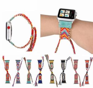 Nylon tecido colorido banda para apple watch 38 mm / 40 mm / 42 mm / 44 mm criativas feitas à mão trançado correias para apple watch band