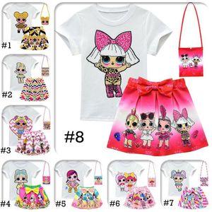 DHL LOL девушки костюмы 10 Стиль 3-10Y ягнится наряды 3шта / набор тенниски + юбка + мешок LOL сюрприз девушки юбка Tee костюм INS лето младенец одежда Set
