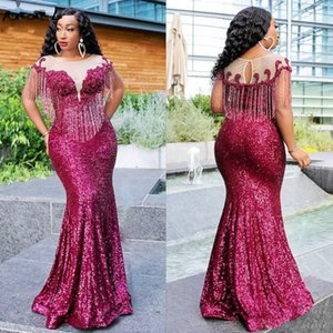 Aso Ebi Arabic Sequins Plus Size Evening Dresses With Tassels Sheer Neck Beads Mermaid Prom Dresses robe de soiree Party Gowns
