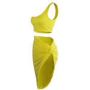 2020 Frühling der neuen Frauen der europäischen und amerikanischen Sexy Navel Plissee Stitching Zweiteiliges Kleid