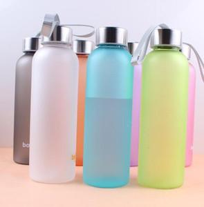 600ml bereift Trinkflaschen Süßigkeit-Farbe Dull polnische Flasche Sport Kettle Reise Yoga Tassen Outdoor-Camping-Plastikbecher neue GGA2848