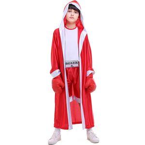 Дети бокс костюмы мальчики Boxer Костюмированного костюм с боксерскими перчатками Красных Синего Robe Match Performance Halloween Role платье