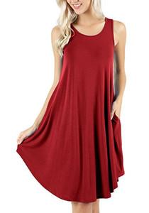 8 Cor Mulheres Mini Vestido Modal Verão Sem Mangas Bolso Tripulação Pescoço Vestidos Pure Color Vest Camisa Curta Vestido Mini Solto Balanço Casual Planície