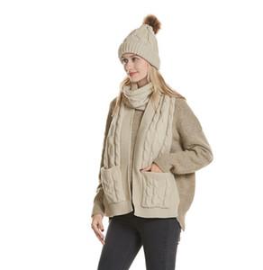 Unisexe foulard chapeau tricoté écharpes hiver chapeaux bonnet de laine chaud avec pom épais Twist Knist écharpe avec poche GGA2553