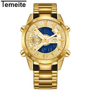 Temeite Marca Mens ouro relógios de quartzo Esporte Digital Assista Homens LED Dual Display Relógio de pulso à prova d'água Luminous Relógio Masculino