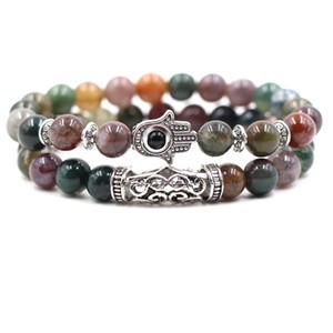 2pc / set 8 milímetros pedra natural da pulseira Stripe roxo Crânio da coruja do leão do dragão Designer Luxury Jewelry Mulheres Bracelects Men Buddha Pulseira Beads