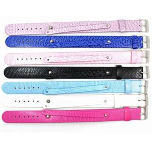 """Atacado-18 + 8mm pulseiras de pulseira de couro pu """"pode escolher a cor"""" (10 peças / lote) diy acessório ajuste slide carta / encantos lsbr013 * 10"""