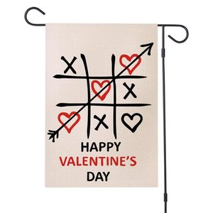 Romantic Party Banner Flags Waterproof Arrow Letter Love Heart Printed Garden Flag Fit Outdoor Valentines Day 12'' *18 '&#039