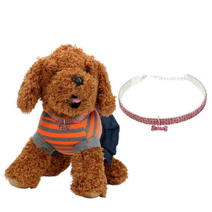 Pet Product Crystal Collars 3 Rows of Rhinestone Stretch Line Pet Necklaces Dog Accessories Supplies Dog Cat Necklaces