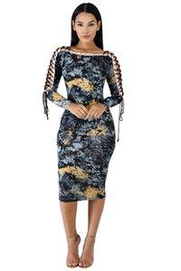Fashion-женщин Тонкий Flora Printed платья Sexy Разрез шеи Dew плеч Длинные рукава дамы платья женской одежды