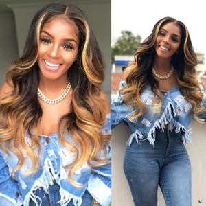 Ombre Blonde 13x4 perruques de cheveux humains avant de dentelle 130% de 150% Densité Lace Front Wigs corps brésilien dentelle de vague perruque d'avant