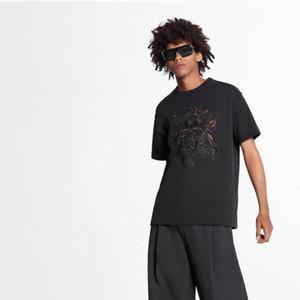 Nueva 20SS cielo abierto del cordón bordado de la letra camiseta de la manera ocasional de algodón cuello redondo Hombres Y diseñador de las mujeres Pareja de manga corta T HFXHTX230