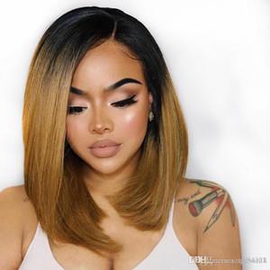 1b / 30 선염 레이스 프런트 인간의 머리 가발 스트레이트 브라질 짧은 밥 컷 깊은 부분 컬러 가발 180 % 밀도 레미