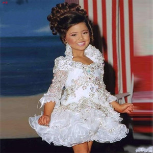 Glitz Pageant Dresses For Girls Little Girl Gowns 3 4 Sleeve Beads Crystal Rhinestone Ruffles cupcake pageant dress