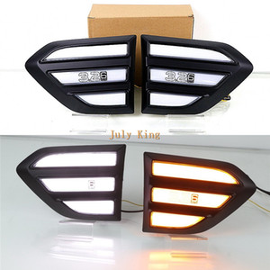 Luglio King Car Fender LED Daytime Running Light Side DRL Streamer gialle Indicatori di direzione caso Luce per Ford Ranger 2016-2020