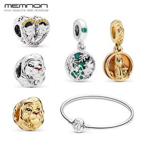 Nouveaux authentiques 925 argent sterling Charms Coeur Vintage Lion d'or perles Bracelet Fit collier bracelet pendentif bricolage bijoux de fabrication pour les femmes