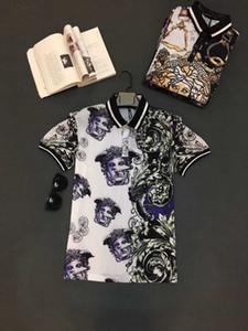 Frühling Luxus italienischen T-Shirt T-Shirt Männer Poloshirt High Street gestickter Garter Medusa Blumen Kleidung Herrenmode-Polo-Hemd