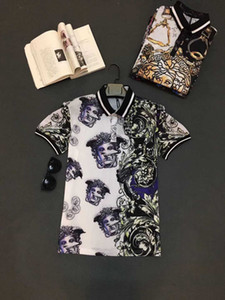 Camisa de polo de la manera italiana de lujo primavera camiseta de polo de la camiseta de los hombres de la calle principal de la medusa liga bordada Flor Ropa de Hombre