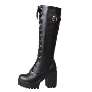 MUQGEW Hot Sale Spring Autumn Lacing Knee High Boots Women Fashion White Square Heel Woman Leather Shoes Winter Large Size 34-43