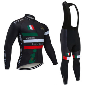2020 Tour Italia Ciclismo Maglie maniche lunghe Bike Camicie giacca invernale in pile Cycling Team Abbigliamento Mountain Bike Maillot usura