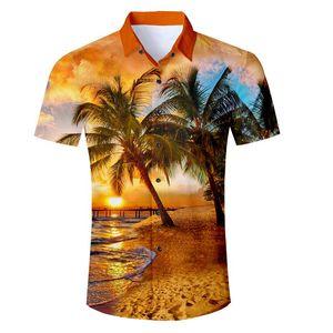 2018 New Men's Short Sleeve Hawaiian Shirt Summer Style Plam Tree Men Casual Beach Hawaii Shirts Fit Slim Male Blouse