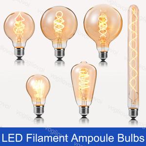 Lámparas LED de 3W de ampolletas incandescentes de filamento 2200K retro Edison E27 220V A60 ST64 G80 Para lámparas de cristal colgante de pie luminarias de DHL