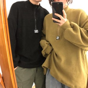 2018 autumn and winter new zipper thick map half high collar solid color men's jacket hoodie casual black   green   khaki M-XL