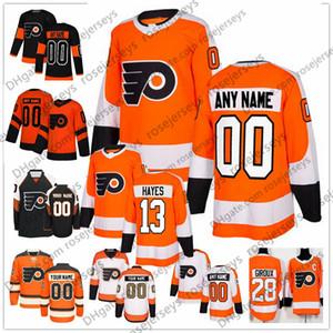 Flyers de Philadelphia personnalisés # 13 Kevin Hayes Jersey N'importe quel numéro Nom hommes femmes jeunes enfants Blanc Noir Orange Hartman 00 Gritty 28 Giroux Voracek