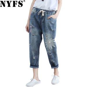 NYFS 2019 Nouveau printemps de jeans automne Loose Women Sarouel broderie Ripped Neuf élastiques Denim Pantalons