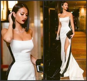 Nouveaux incroyables robes de soirée sexy Sexy Slim sans bretelles robes de satin blanc sans bretelles avec une bande noire High Slit Prom Robes de fête sur mesure Vestidos de Soisere